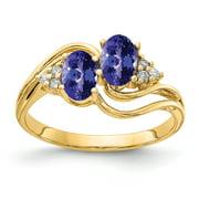 Primal Gold 14 Karat Yellow Gold 6x4mm Oval Tanzanite and AA Diamond Ring