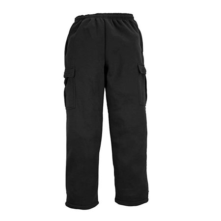 North 15 Men's Heavy Fleece Sweat Pants with Cargo Pockets-1121-Blk-Lg
