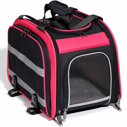 Pet Expandable Rear Pet Carrier for Bikes, Pink/Black