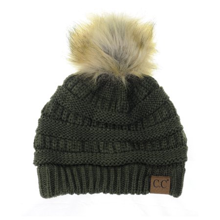 NYFASHION101 Exclusive Soft Stretch Cable Knit Faux Fur Pom Pom Beanie Hat  - Dark Olive - Walmart.com da1c95017b4