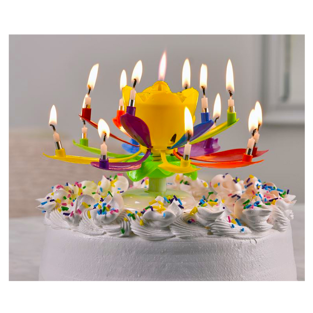 Happy Birthday Musical Flower Candles Rotating Lotus Cake Topper Decor Gift Jpg 1000x1000 Walmart