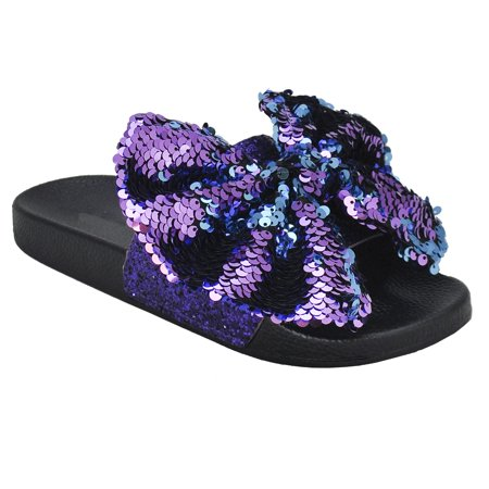 a5bc45a2470b4 Women's New Fashion Bow Tie Spangle Glitter Open Toe Flip Flop Sequin Low  Slide Sandals (FREE SHIPPING)