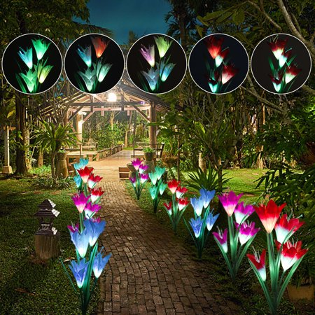 Outdoor Solar Garden Stake Lights, 2 Pack Solar Powered Flower Lights with 8 Lily Flowers, 7-Colors Changing Automatical LED Solar Landscape Decorative Lights for Garden, Patio, Backyard(Solar