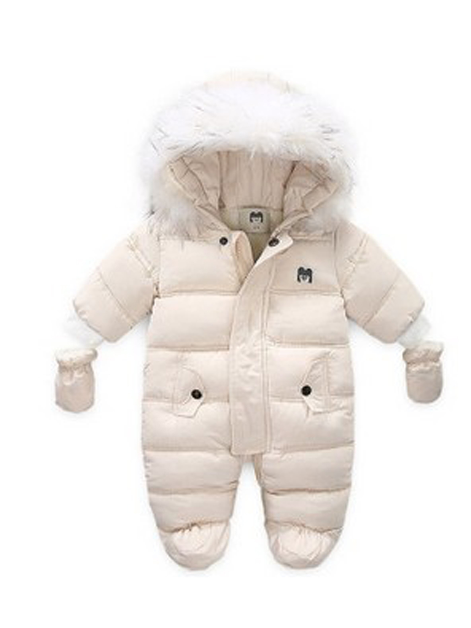 Baby Clod Winter Romper Down Jacket Kid Padded Hooded Plus Thick Windproof Coat Pink