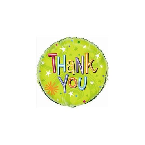Unique Industries 54439 18 inch Thank You Swirl Foil Balloon Bulk in Lime Pack of 12