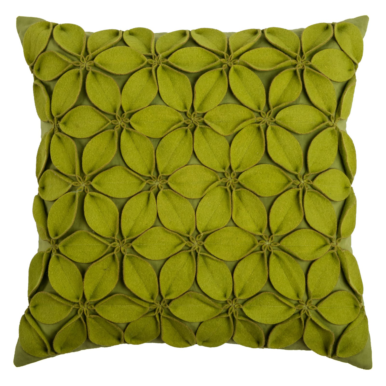 """Rizzy Home Decorative Poly Filled Throw Pillow Solid Botanical Petals 18""""X18"""" Teal"""