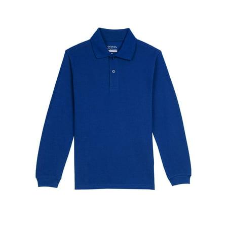 d52bad46f George - Boys School Uniforms Long Sleeve Pique Polo Shirt - Walmart.com