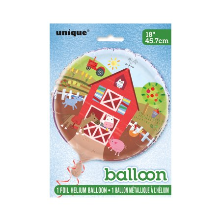 Foil Barnyard Farm Party Balloon, 18 in, - Barnyard Animals Party