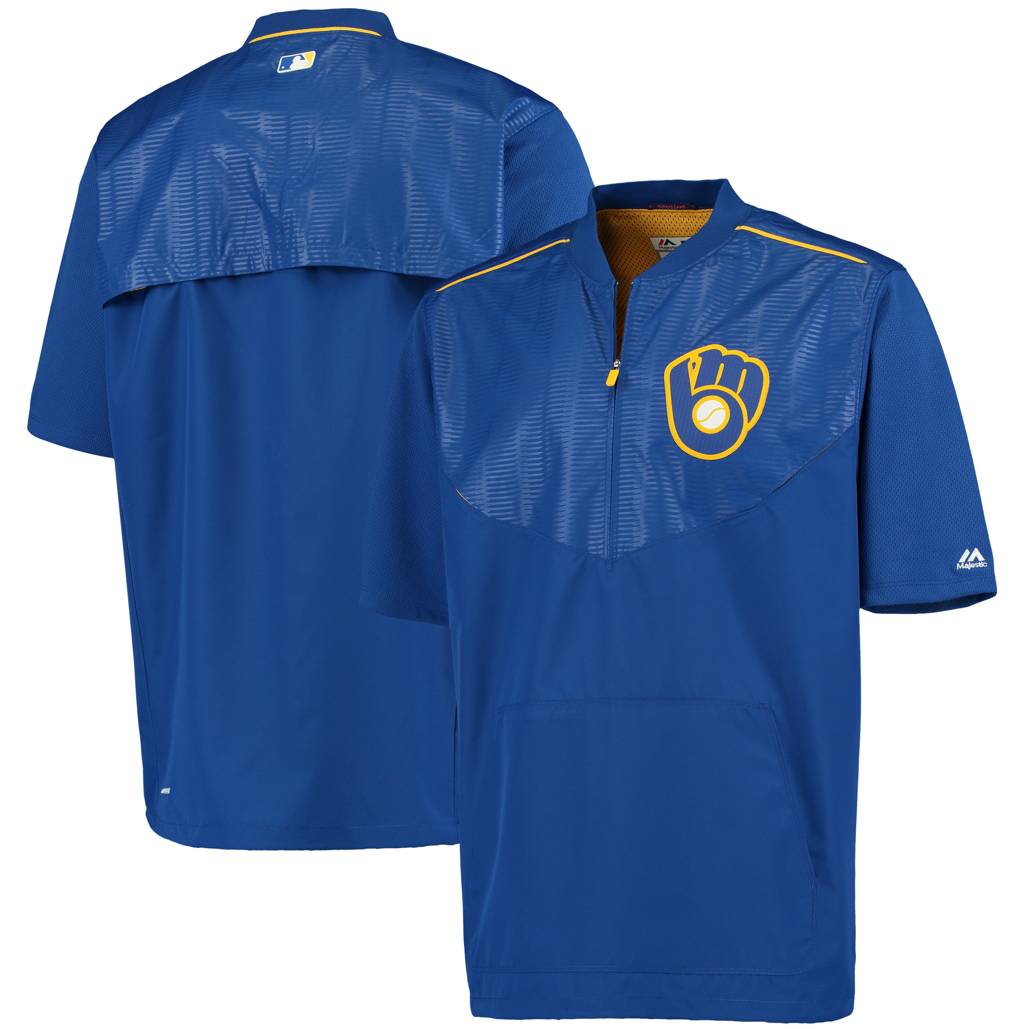 Milwaukee Brewers Majestic On Field Training Half-Zip Pullover Short Sleeve Cool Base Jacket - Royal