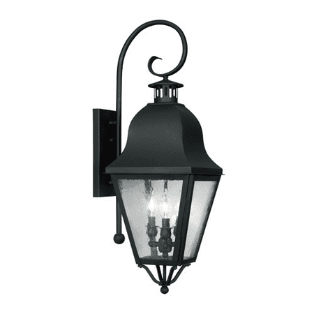 Wall Sconces 3 Light With Seeded Glass Black Finish size 32 in 180 Watts - World of Crystal