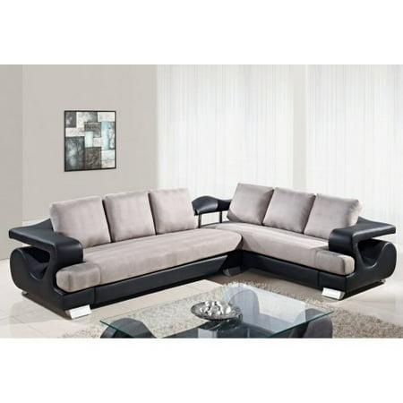 Global furniture u7208 microfiber 2 piece sectional sofa for 6 piece microfiber sectional sofa