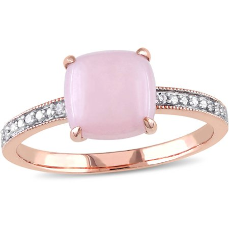 1-1/3 Carat T.G.W. Cabochon Pink Opal and Diamond-Accent 10kt Pink Gold Cocktail Ring