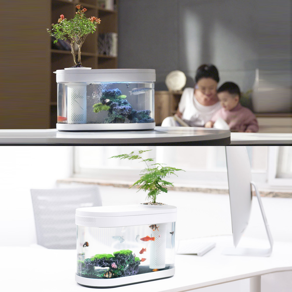 Desgeo Ecological Goldfish Tank Living Room Home Desktop Small Symbiosis System Flower Muzy Lazy Aquarium Led Colorful Fish Box With Oxygen Filter Pump Set Walmart Com Walmart Com