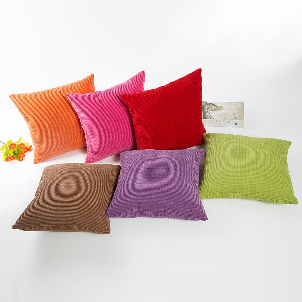 Girl12Queen Square Check Pattern Corduroy Pillow Cover Home Decor Cushion Case Pillowslip