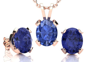 4 Carat Oval Shape Tanzanite Necklace and Earring Set In 14K Rose Gold Over Sterling Silver by