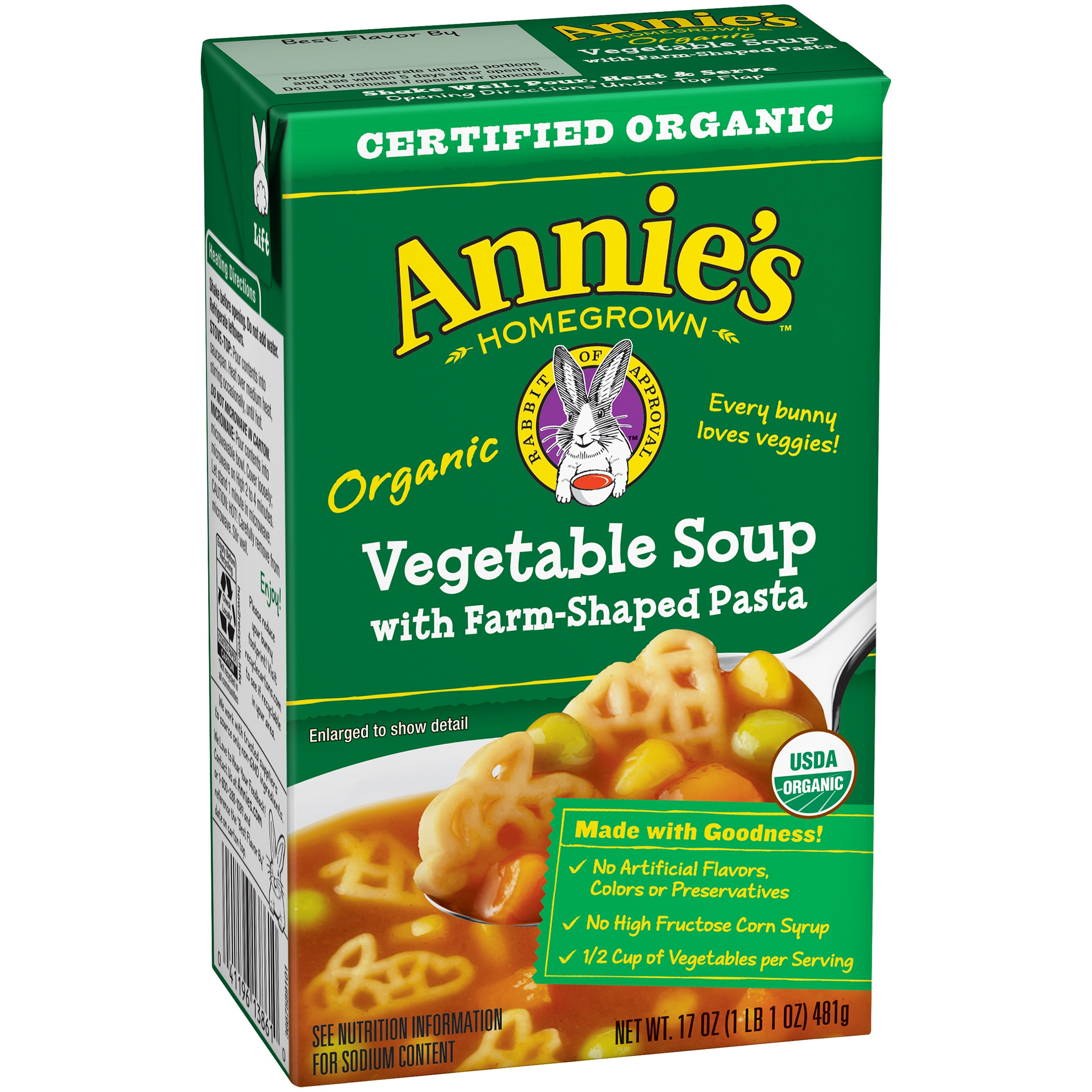 Annie's Organic Vegetable Soup with Farm-Shaped Pasta 17 oz. Aseptic Pack by Annie's Inc.