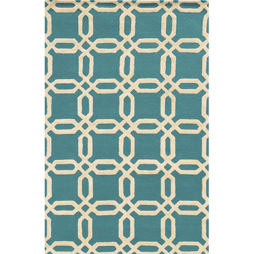 Wildon Home  Alaysia  Hand-Tufted Blue/Ivory Area Rug