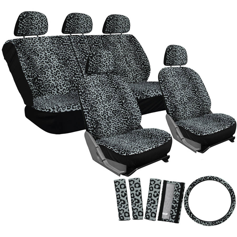 Front Seats Only Universal Fit for Car Truck Van and SUV BDK Black Leopard Print Car Seat Covers Sideless Design for Easy Installation Animal Pattern Front Seat Cover Set with Matching Headrest