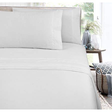 Mainstays Easy Care 300 Thread Count Cotton Rich Percale Sheet Set, Twin/Twin XL, Arctic White