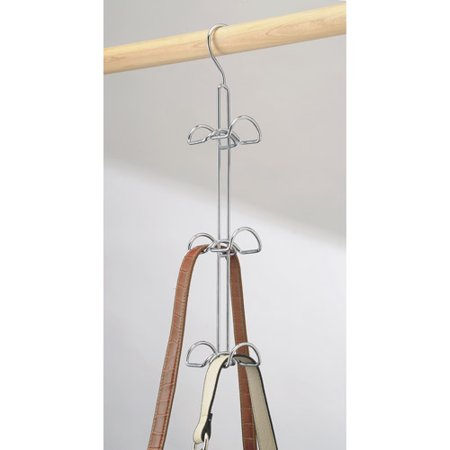 InterDesign Classico Hanging Closet Organizer for Purses, Handbags, Satchels, Backpacks, Scarves, Pashminas, Slings, Closet Accessories, 6 Hooks, Chrome ()