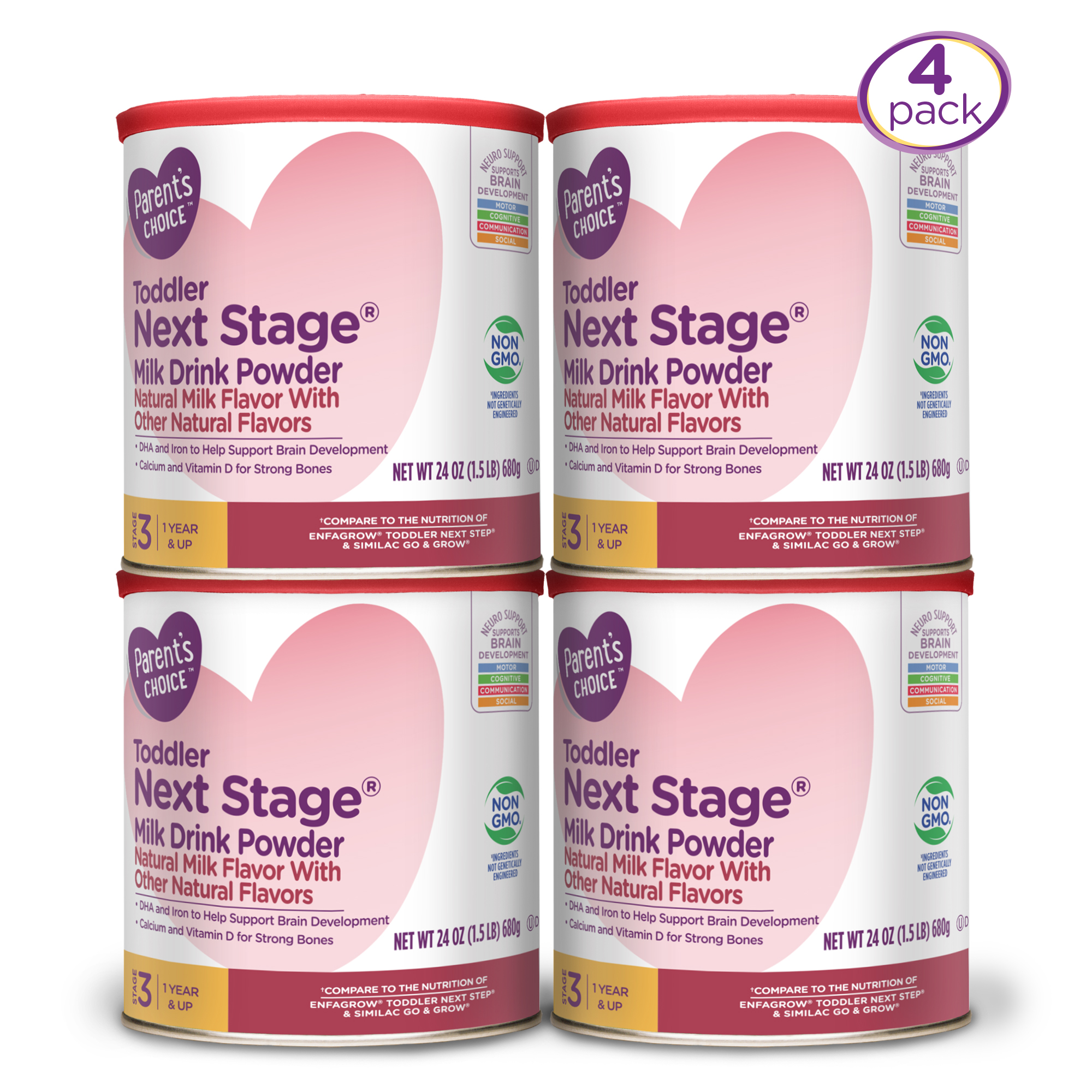 Parent's Choice Non-GMO Toddler Formula Natural Milk Economy Pack (4 cans of 24oz each) 96oz.