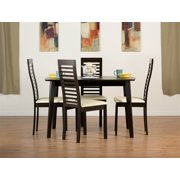 Dayton Dining Table Set with Denver Chairs in Coffee