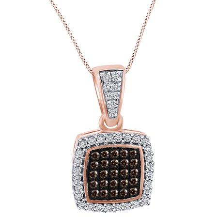 0.15 Carat (Cttw) Round Shape White Natural Diamond Square Pendant Necklace 10k Solid Rose Gold - Gold Diamond Square Pendant