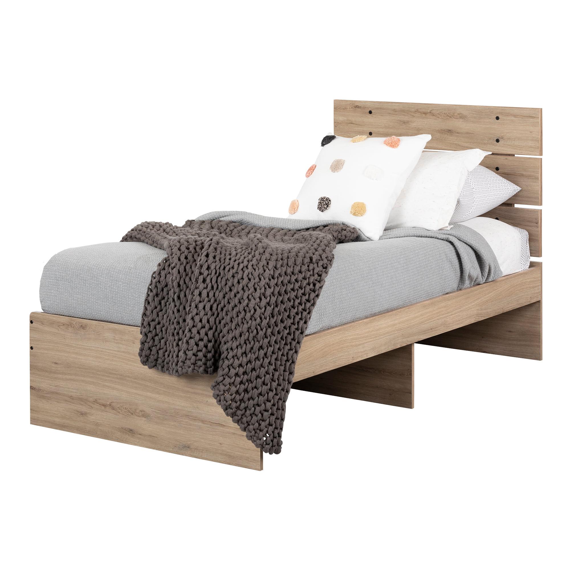 Rustic Oak And Matte Black Twin South Shore 11022 Induzy Set Bed And Headboard Kit Kids Furniture Kids Furniture Room Decor