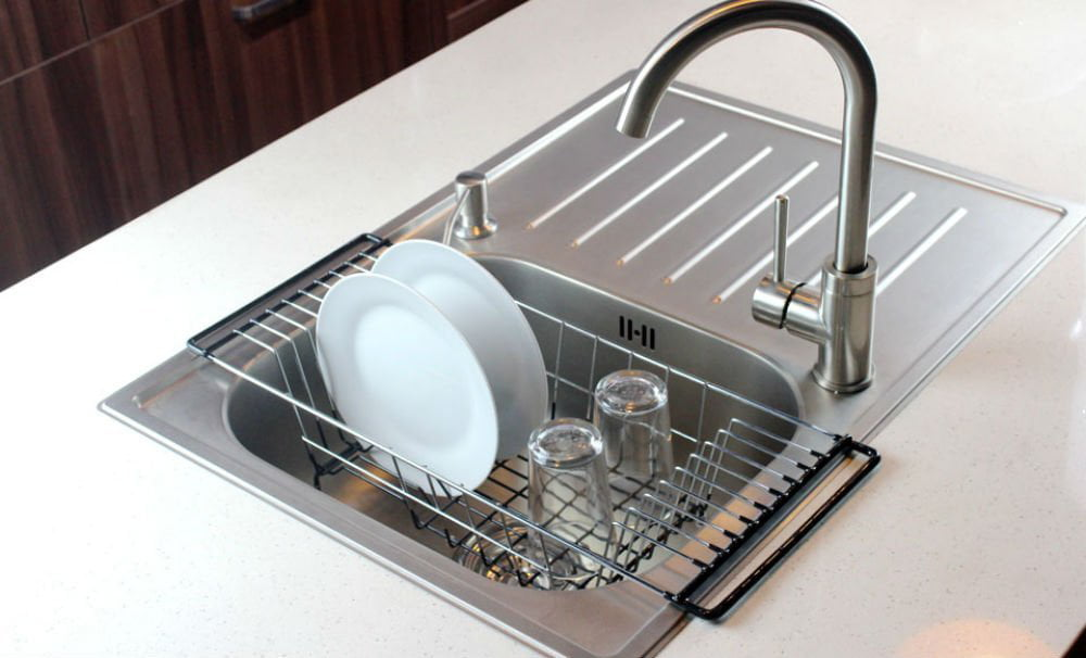 neat o over the sink kitchen dish drainer rack durable chrome - Small Kitchen Sink With Drainer