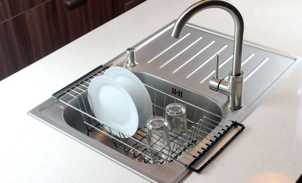 High Quality Neat O Over The Sink Kitchen Dish Drainer Rack, Durable Chrome