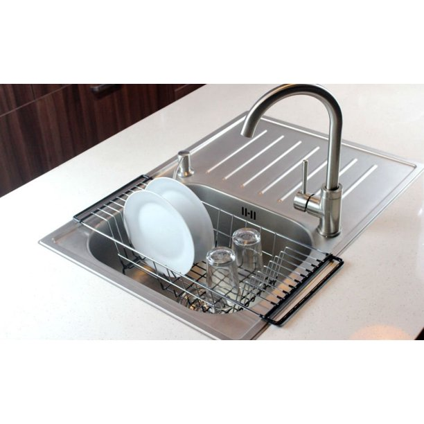 Neat O Over The Sink Kitchen Dish Drainer Rack Durable Chrome Plated Steel Walmart Com Walmart Com