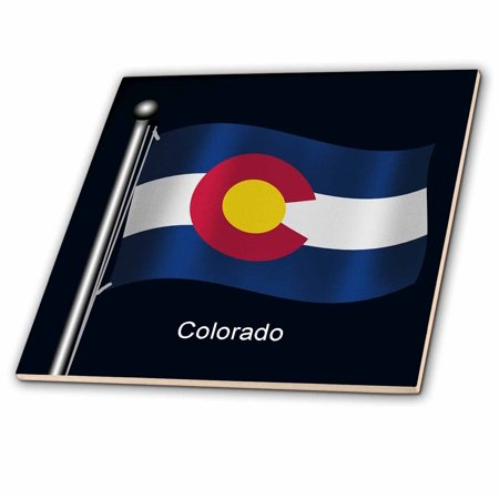 3dRose Flag of the state of Colorado waving on a dark blue background - Ceramic Tile, - Blue Toile Background