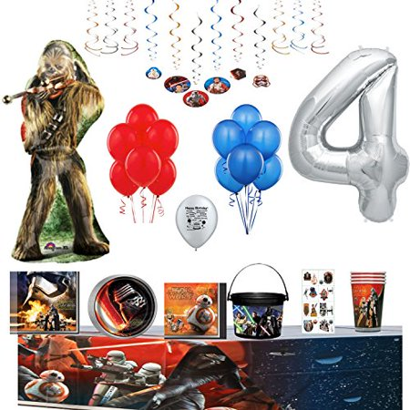 Star Wars Birthday Party Supplies and Balloon Decoration Bundle (4th) - Star Wars Birthday Decorations