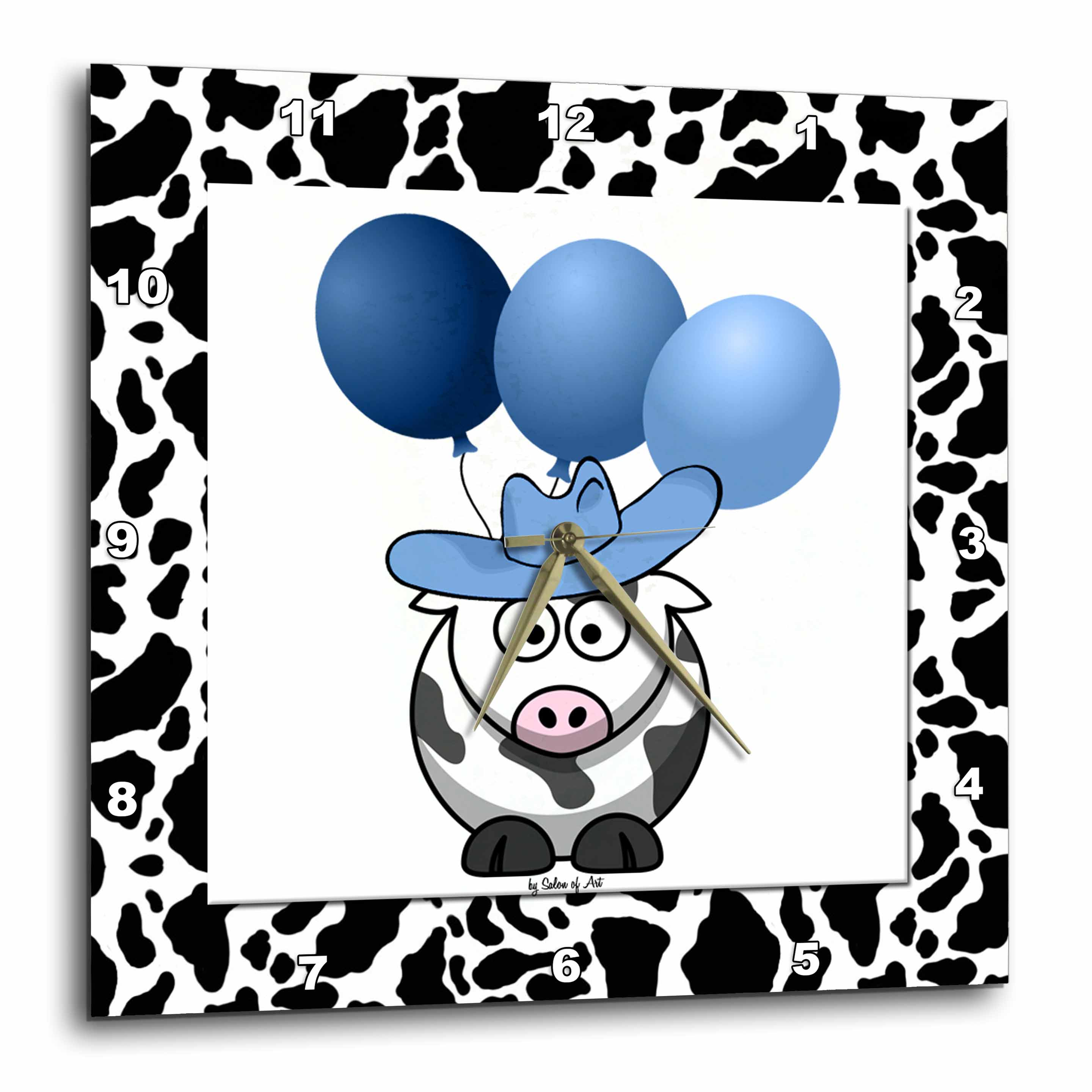 3dRose Western Cow Print with Blue Balloons, Wall Clock, 15 by 15-inch
