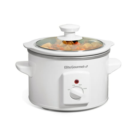 Elite Cuisine MST-250XW 1.5-Quart Round Slow Cooker, White