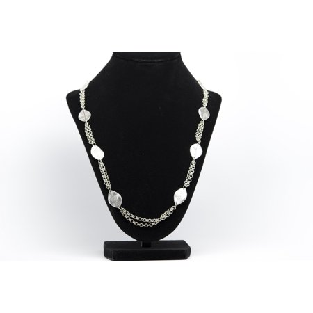 Leave Chain Antique Silver Plated Vintage Necklace with Adjustable Length Silver Plated Vintage Necklace