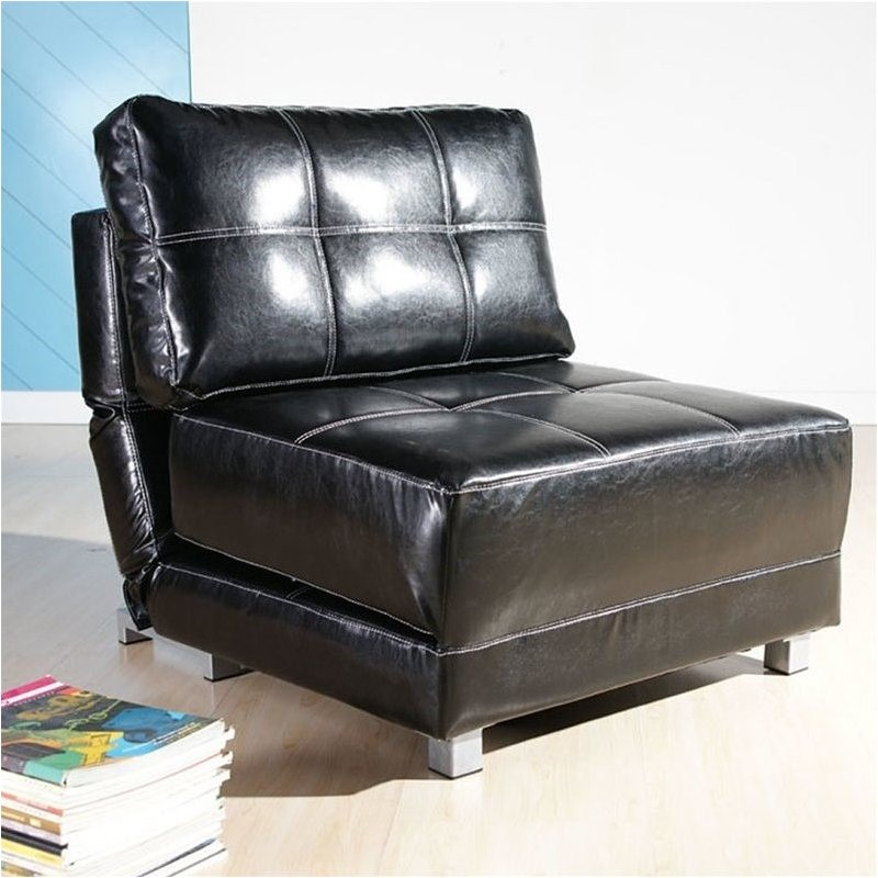 Brika Home Faux Leather Convertible Accent Chair in Black