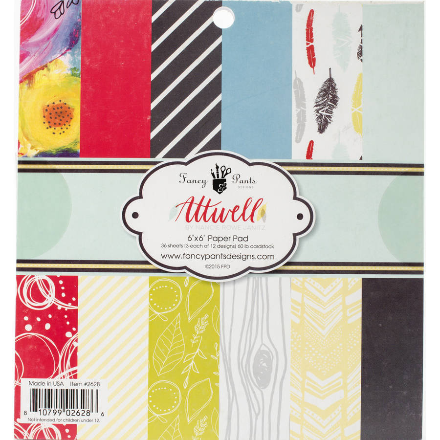 "Fancy Pants Designs Single-Sided Paper Pad, 6"" x 6"", 36pk, Attwell, 12 Designs/3 Each"