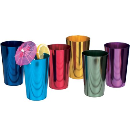 (Set/6) Retro Collectible Colored 16 Oz. Anodized Aluminum Tumbler Glasses ()