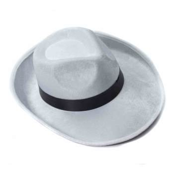 White Velvet Fedora with Black Band Halloween Costume Accessory](Fedora Black)
