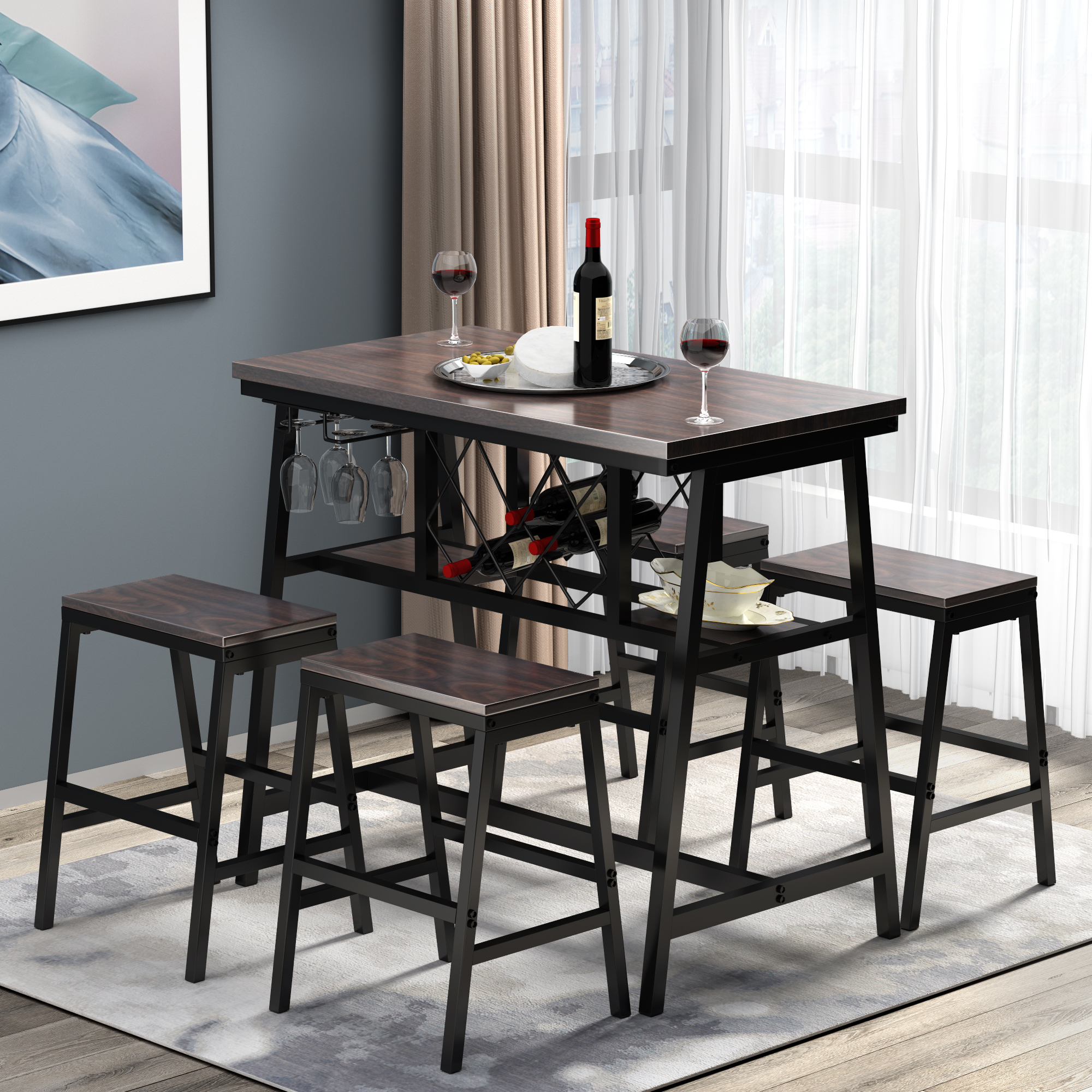 5 piece counter height dining table set with 4 stools