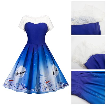 Women's Girls Vintage Retro 50s 60s Lace Neck Swing Pin up Dresses for Xmas Christmas size S-2XL