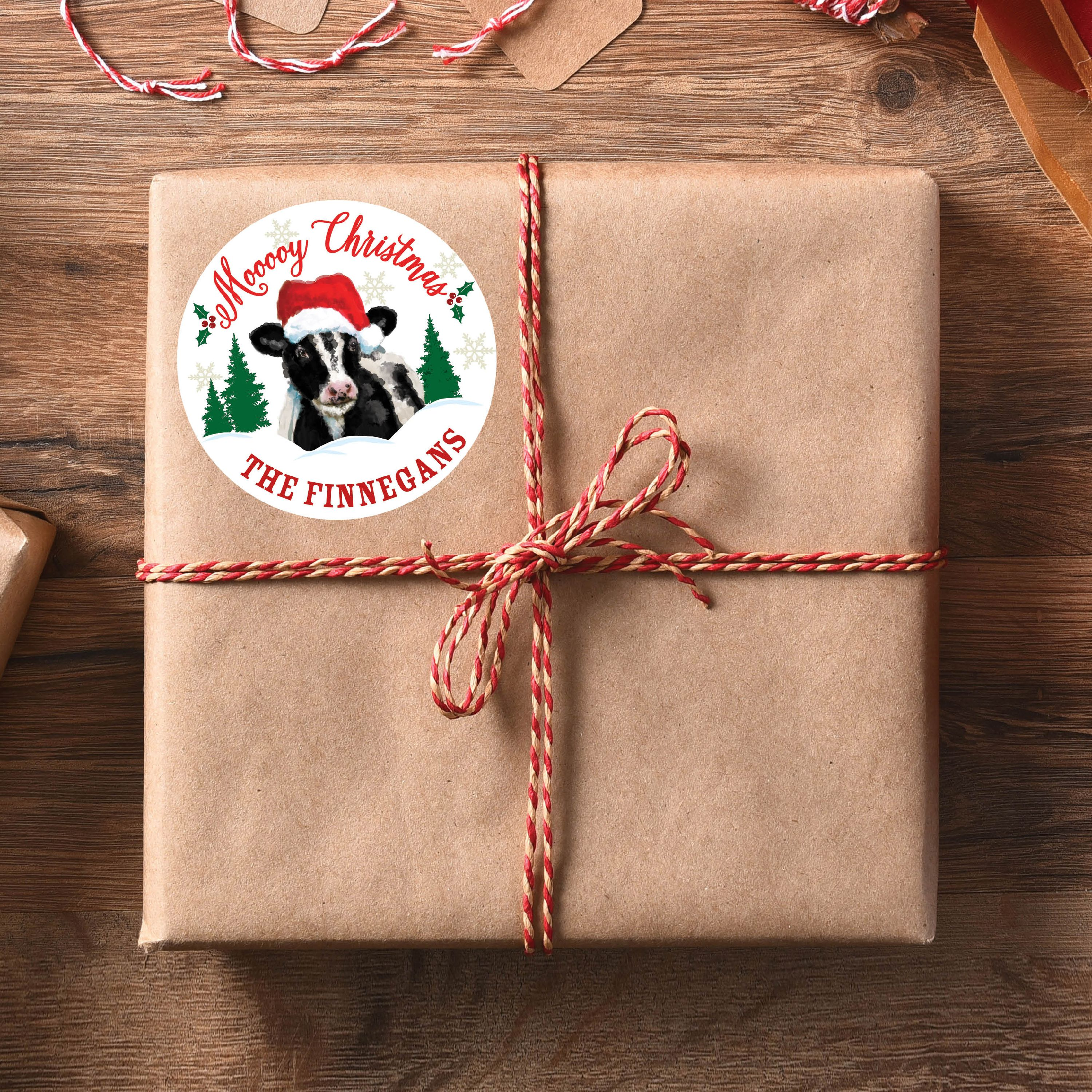 Christmas Cow Personalized Gift Sticker Set