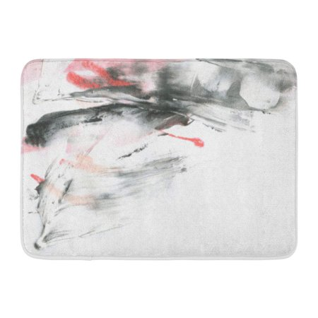 GODPOK Abstract Ink Marble Black and White Paint Stroke Game Drywall Mud Macro of Spackling Paste Dark Smear Rug Doormat Bath Mat 23.6x15.7 inch ()