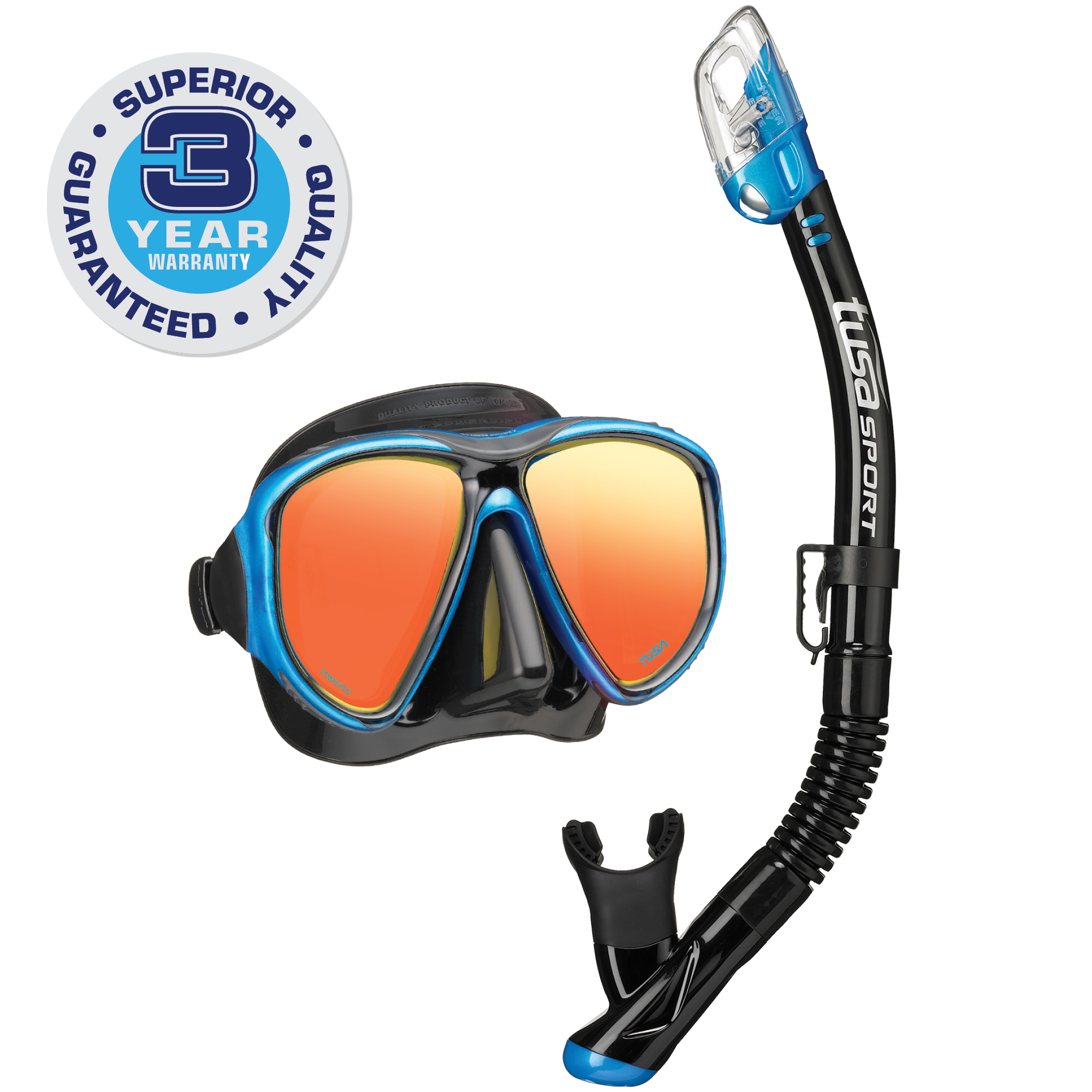 TUSA Sport Adult Powerview Mirrored Mask and Dry Snorkel Combo
