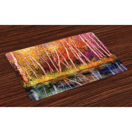 Flower Placemats Set of 4 Fall Trees along with Lake Fall in Jungle Natural Paradise Best Places in Earth, Washable Fabric Place Mats for Dining Room Kitchen Table Decor,Grink Purple, by Ambesonne for $<!---->