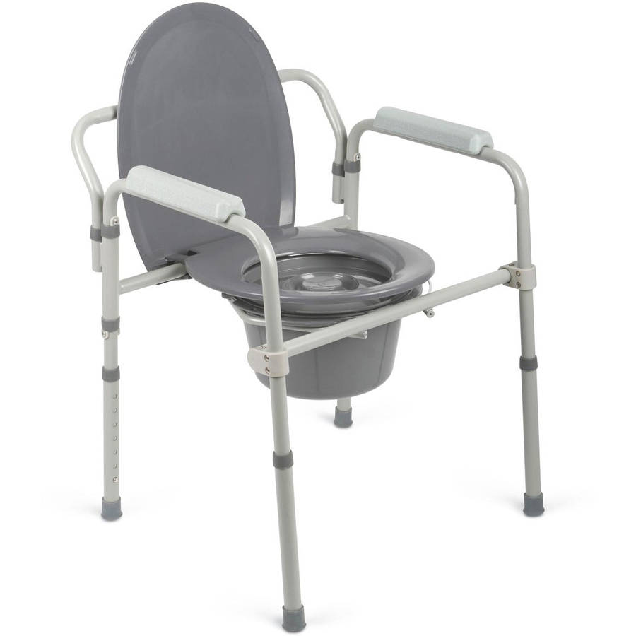 Medline Steel Elongated 3-in-1 Bedside Commode, 400lb Weight ...