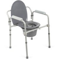 Medline Heavy Duty Steel Elongated Seat 3-in-1 Bedside Commode, 400lb Weight Capacity, Gray