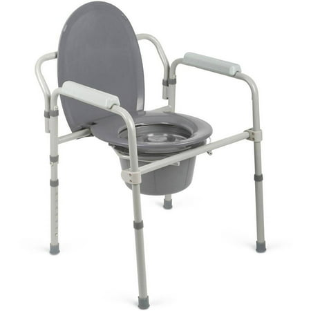 Medline Steel Elongated 3-in-1 Bedside Commode, 400lb Weight (Hoyer One Piece Commode Sling)