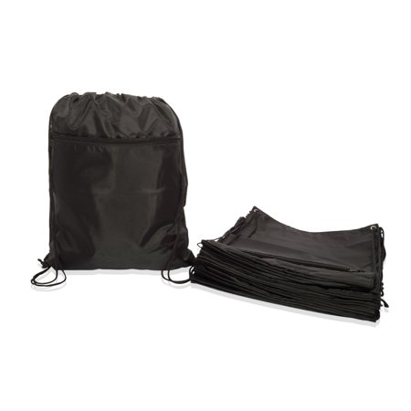 DALIX Small Gym Bag Drawstring Bag for Men Women Cinch Sack in Black